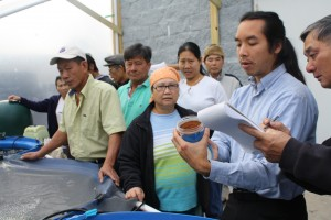Daniel Nguyen explains the aquaponics process to members of the Vietnamese community.  Photo Credit: David T. Baker