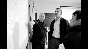 Former U.S. Coast Guard Commandant Admiral Thad Allen and EPA Administrator Lisa Jackson brief President Barack Obama about the BP oil spill in Venice, La. on May 2, 2010. Official White House photo