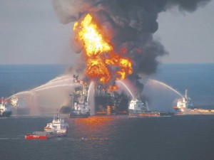 Fire boats battle blazing remnants of the Deepwater Horizon rig the day after it exploded on April 20, 2010.  Photo courtesy of the U.S. Coast Guard.