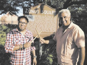 Celebrated drummer Luther Gray, right, and South African recording artist Ernie J. Smith visit Congo Square last week as the heralded musical 'Africa Umoja, The Spirit of Togetherness' kicked off its U.S. tour in New Orleans. Smith, a jazz vocalist and guitarist signed to New Orleans-based SAIG Entertainment, opened for the musical, which ran July 10-13 at the Mahalia Jackson Theater of the Performing Arts.