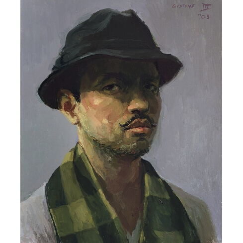 """Self portrait of Gustave Blache, III entitled """"Self Portrait with Checkered Scarf"""""""