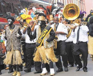 ZULU CHARACTERS AND BAND AT THE LUNDI GRAS FEST