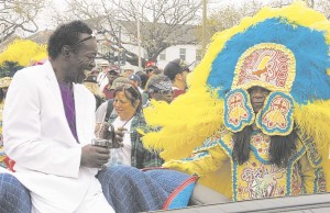 INDIAN ROYALTY - BIG CHIEF BO DOLLIS and MONK BOUDREAUX from last year's Mardi Gras Indian Super Sunday