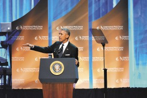 President Obama addressing those attending the Congressional Black Caucus Awards dinner in Washington, D.C. recently
