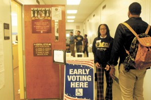 Kyla Smith was among the group of McMain students voting for the first time on Tuesday, October 21, the first day of early voting for the November 4th election.