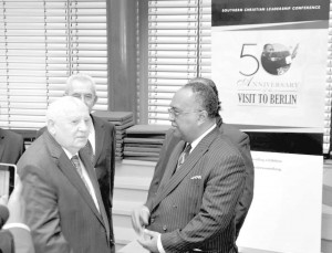 SCLC president Charles Steele with former Soviet President Mikhail Gorbachev at the Symposium of the New Policy Forum in Berlin. They are standing in front of the SCLC banner of Dr. King's visit to Berlin 50 years ago. (Photo (c) by Dieter Bölke.