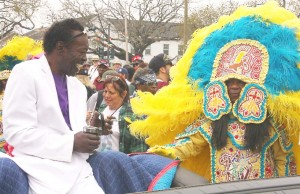 Above, an iconic photo of the late Big Chief Bo Dollis, left, being greeted by Big Chief Monk Boudreaux during at the onset of the Indian Super Sunday parade. This year's event is March 15