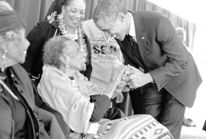 In Selma, the President greets former foot soldier Amelia Boynton Robinson, 103 years old, backstage before the ceremony. Official White House Photo by Pete Souza