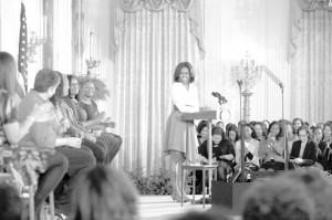 First Lady Michelle Obama delivers remarks at 'Celebrating Women of the Movement, an event honoring Black History Month, in the East Room of the White House, February 20. Here, the First Lady introduces moderator Vanessa De Luca, Editor-in-Chief of Essence magazine and the panel of intergenerational women who have played a pivotal role in the civil rights movement — both past and present. Photo by Amanda Lucidon/The White House