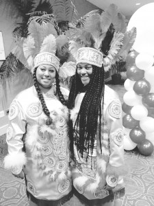 In attendance at the New Orleans Black Indians Alliance (NOBIA) inaugural Soiree of Feathers are two Indian queens