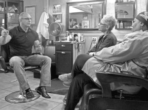 'Restaurant Impossible' host Robert Irvine talks with owners of the JuJu Cafe and Barber Salon, Phyllis Johnson and Tommye Myrick. Photo courtesy of Food Network