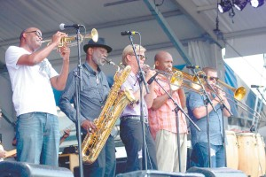 James Andrews with members of his horn section - Roger Lewis, Craig Klein, Stephen Walker and Greg Hicks.