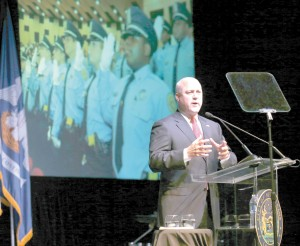 New Orleans Mayor Mitch Landrieu delivers the State of the City address on Thursday, May 28, before an audience of elected officials and citizenry at the historic Carver Theatre.