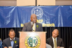 New Orleans NAACP Branch president Morris Reed addresses those in attendance at recent Freedom Fund banquet.