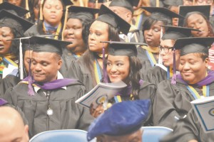 Pictured above are members of Southern University at New Orleans' 2015 graduating class. Commencement exercises were held on May 9.