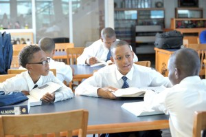 Cornelius Clay, Jordan Johnson and Bobby Barnes are among the first students of St. Mary's Male Academy which opened its doors this school term.