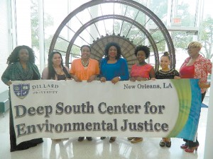 Members of the Dillard University student and mentor delegation traveling to COP21 in Paris are, from left to right: Dr. Ebony Turner, Alexis Walker (senior, public health), Mary I. Williams, Dr. Beverly Wright, Faith Flugence (sophomore, political science), Tiara Gray (sophomore, biology), and Celeste Cooper.
