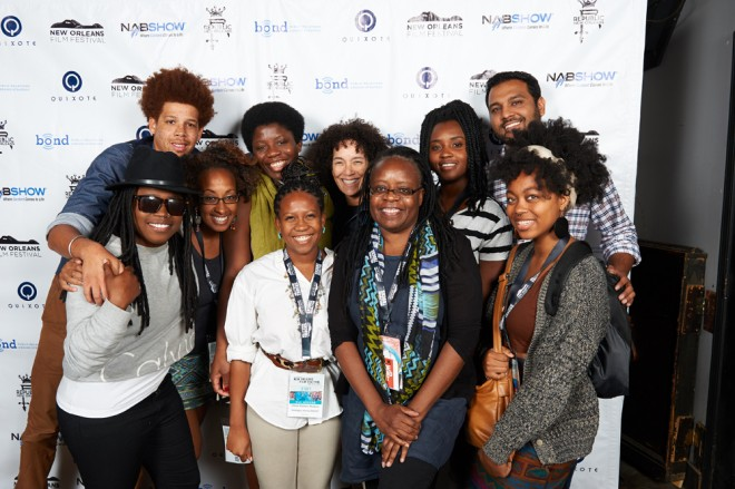The Emerging Voices group includes from left: Allendra Freeman, Jason Foster, Eritria Pitts, Opeyemi Olukemi, Chloe Walters-Wallace, program director; Stephanie Allain, Yvonne Welbon, Kenna J. Moore, Ahmed Siddiqui, and Zandashe Brown.