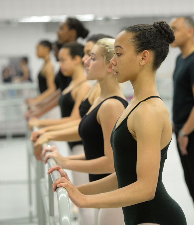 Cori Lewis (foreground) and classmates practice for their performance with the Dance Theatre of Harlem | Photo by Jeff Strout, courtesy of New Orleans Ballet Association