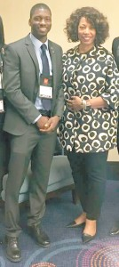 Darnel Williams, one of 30 students who are members of the first cohort of the Apple HBCU Scholars Program, poses with Denise Young-Smith, vice president for worldwide human resources at Apple and a graduate of Grambling State University, who announced the winners at the Thurgood Marshall College Fund Leadership Institute in Washington, D.C. last month.