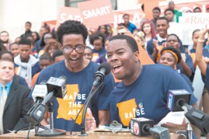 Dante Hills and Shawn Kelly, both of whom are Louisiana Youth Justice Coalition members and interns at the Louisiana Center for Children's Rights.