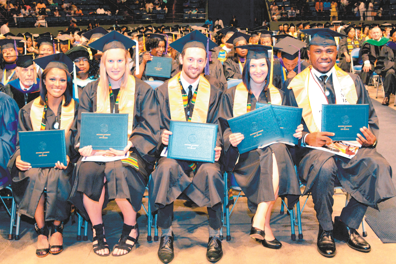 Southern University at New Orleans held its commencement exercises on May 7. Pictured are its 2016 Summa Cum Laude graduates, from left, Lakaley Melissa Tillery, Jana Reininghaus, Jesse Drew Roger, Stephanie Buhl and top grad Samuel Okpechi.