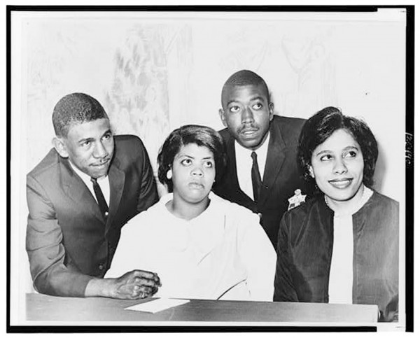 This photo, taken at the Hotel Americana during a press conference  to commemorate the tenth anniversary of the 1964 Supreme Court decision, includes Harry Briggs, Jr. (Briggs v. Elliot), Linda Brown Smith (Brown v. Board of Education of Topeka), Spottswood Bolling, Jr. (Bolling v. Sharpe), and Ethel Louise Belton Brown (Gebhart v. Belton [Bulah]), four of the five plaintiffs in the landmark schools desegregation case, Brown v. Board of Education. Dorothy E. Davis of Dorothy E. Davis v. County School Board of Prince Edward County, Virginia, is not pictured. | Photo from the Library of Congress