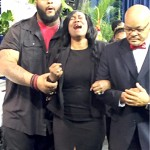 A distraught Sandra Sterling at the funeral of her nephew, Alton Sterling.