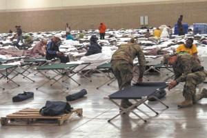 Cots are set up at the Baton Rouge River Center on Aug. 15