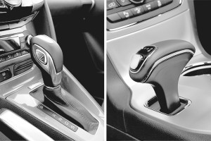 A traditional automatic shifter (left), compared to the confusing Fiat Chrysler shifter, shown in a model-year 2015 vehicle, implicated in over 100 crashes (right). Chrysler is no longer producing vehicles with this shifter.