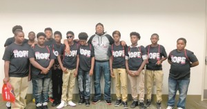 Master P spends time with mentees of hiss Team H.O.P.E program set up to prepare young  Black men to go to college and impact their community.