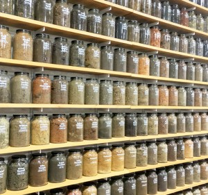 Pictured above are jars of soil from sites where Blacks were lynched. Soil from over 300 lynching sites have been collected. The names of lynching victims are printed on the jars.