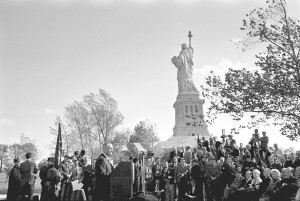 President Lyndon Johnson delivered remarks at the Statue of Liberty before signing into law the Immigration and Nationality Act of 1965. Inspired by the Civil Rights Movement, the law did away with racial quotas in the U.S. immigration system.