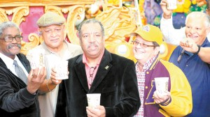 St. Aug. Purple Knight members of the marching band class of 1967 reunite at the Rex Den on Feb. 21, 2017 after their band was the first African American band to march in a Rex parade 50 years ago. They will parade on The Calliope as part of the Krewe of Rex on Mardi Gras day 2017.