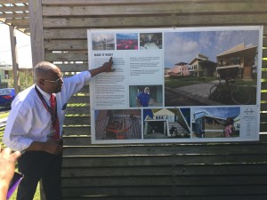 Leon Waters of Hidden History Tours talks about the post-Katrina recovery efforts in the Lower Ninth Ward during the Steeped in History Tour on April 6.