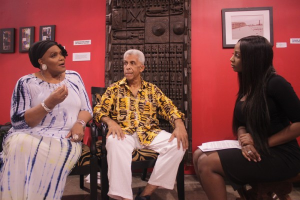 Ashé co-founder Carol Bebelle and Luther Gray discuss the 17 annual Maafa with NNPA/DTU Journalism Fellow Tiana Hunt. (Photo by Darrell Larome Williams, NNPA/DTU Journalism Fellow)