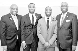 Marcus Howard and Charles Hands (center), co-founders of Engage Millennials, have provided valuable advice to M&F Bank executives Travis Rouse, Chief sales officer; and James Sills III, president/CEO.