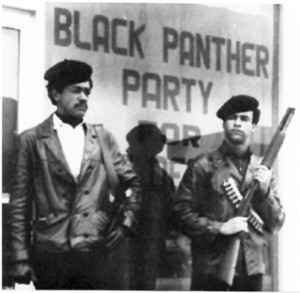 Bobby Seale and Huey Newton, co-founders of the Black Panther Party for Self Defense, with their guns.